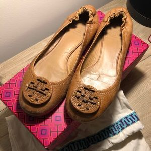 Tory Burch Brown Leather Reva Flats Size 8
